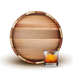 Blank Wooden Barrel And Glass Of Cognac Vector. Lying Brown Barrel And Glassware With Bronze And Cold Aged Alcoholic Beverage, Ice And Bubbles. Front View Template Realistic 3d Illustration