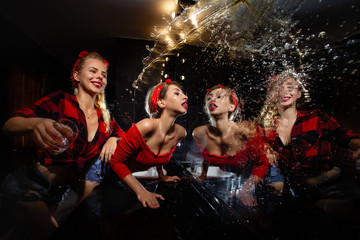 Pin up girls  having fun in nightclub