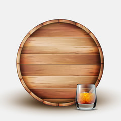 Blank Wooden Barrel With Glass Of Whiskey Vector. Colorful Design Brown Barrel And Cup With Old Delicious Alcoholic Bronze Drink, Ice And Bubbles. Front View Realistic 3d Illustration