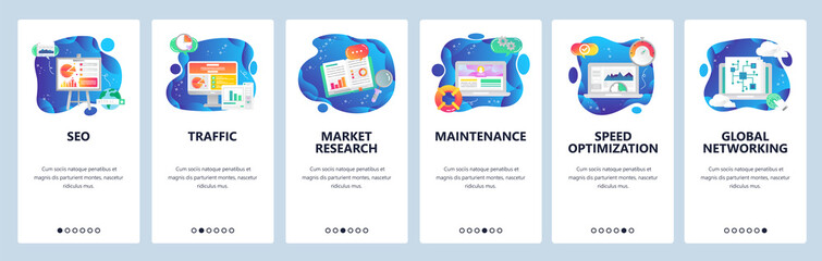 Mobile app onboarding screens. SEO and digital marketing, market research, speed optimization. Menu vector banner template for website and mobile development. Web site design flat illustration