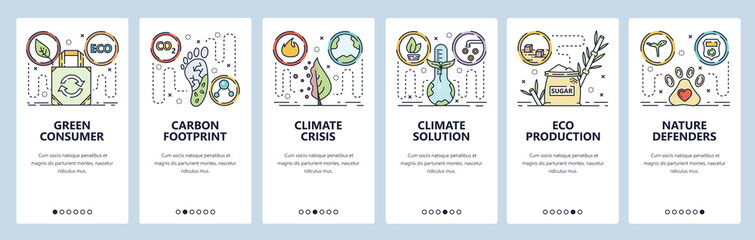 Mobile app onboarding screens. Global warming and climate change. Carbon footprint, nature protection. Menu vector banner template for website and mobile development. Web site design flat illustration