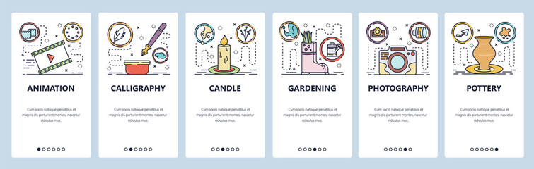 Mobile app onboarding screens. Hobby and leisure activities, photography, calligraphy, animation, gardening. Menu vector banner template for website and mobile development. Web site flat illustration