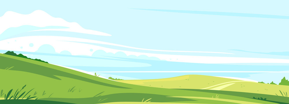 Big panorama of fields and meadows, summer countryside with green hills, summer sunny glades with field grasses and blue sky, travel concept illustration