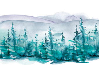 Watercolor mountains. Watercolor picture of mountains, forest with pine trees, fir, cedar. Foggy forest. Abstract vintage spots of blue. Postcard, picture, poster, logo.