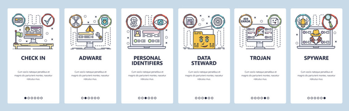Mobile app onboarding screens. Cyber security, adware, spyware, personal id. Menu vector banner template for website and mobile development. Web site design flat illustration