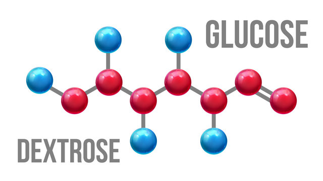 Glucose Dextrose Structure Molecular Model Vector. Color Glossy Blue And Red Atom Spheres Compound Element Of Glucose Mockup. Formula Of Chemistry Science Realistic 3d Illustration