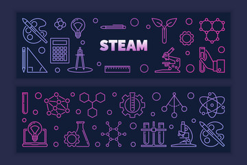 Two STEAM vector concept colored creative outline horizontal banners on dark background