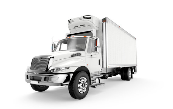 White truck isolated on a white background