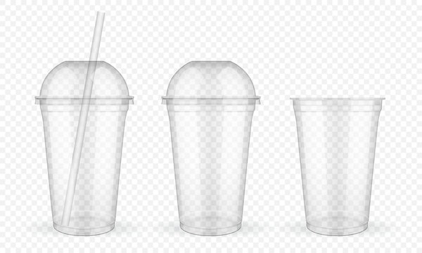Empty transparent plastic cup  on white background  mock up