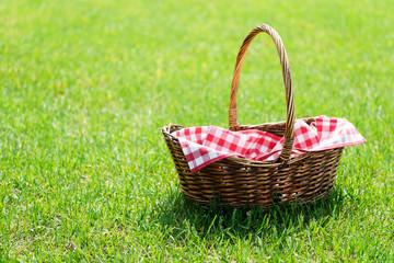 Fotobehang Picknick Empty picnic basket on green sunny lawn.