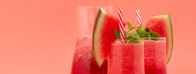 Refreshing cold watermelon fruit juice smoothies drinks  on colorful banner background