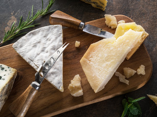 Wall Mural - Cheese platter with Parmesan and blue cheese on stone background. Top view.