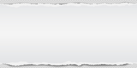 Piece of torn white note paper strip with soft shadow is on grey squared background. Vector illustration