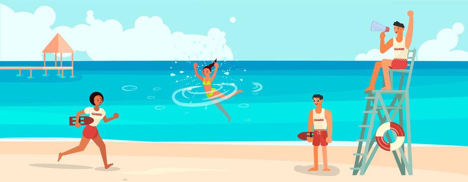 Female lifeguard saving a drowner