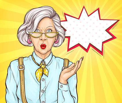 Pop art old woman with surprised wow face expression, grandmother, senior fashioned lady portrait with modern hairstyle and accessories on retro comic book style yellow background, vector Illustration