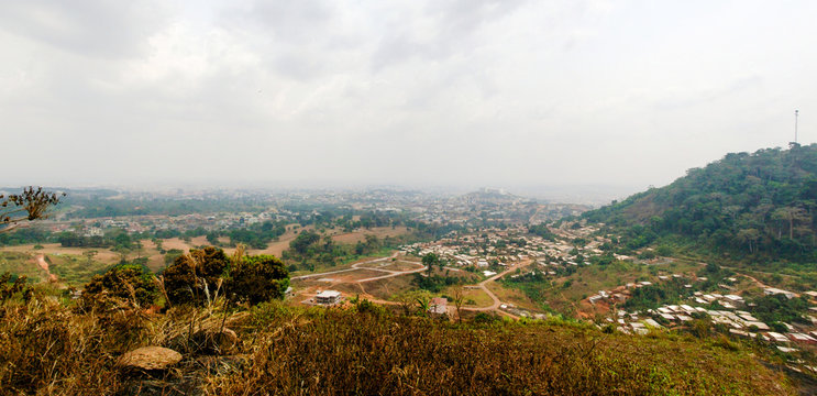 Aerial cityscape view to Yaounde, capital of Cameroon