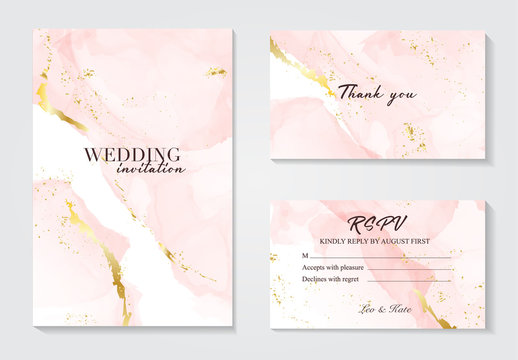 Vector wedding invitation set with liguid fluis background. Rose gold foil marble decoration luxury design. Grunge alcohol ink texture