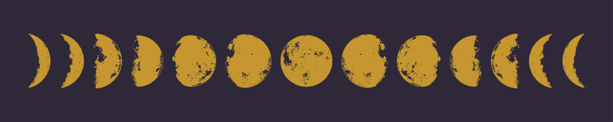 Golden moon phases. Hand drawn vector illustration. Eps 10.