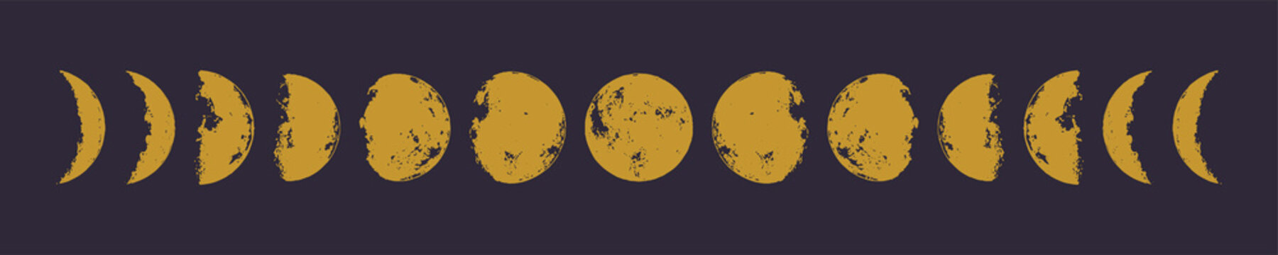Golden moon phases. Hand drawn vector illustration. Eps 10.