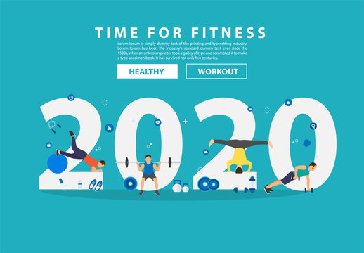 2020 new year fitness ideas concept man workout gym equipment with flat big letters. Vector illustration modern layout template design