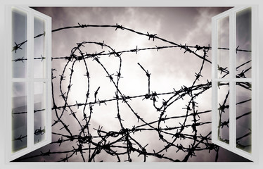 Barbed wire fence against an open window - prison concept image