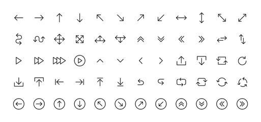Wall Mural - Arrows big black set icons in line style. Arrow icon. Arrow vector collection. Arrow. Cursor. Modern simple arrows. Vector illustration.