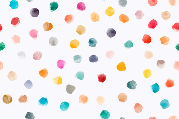 Color, abstract, diverse seamless pattern with colorful watercolor stains made in vector