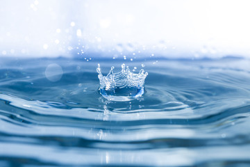 Water background with waves and drop falling