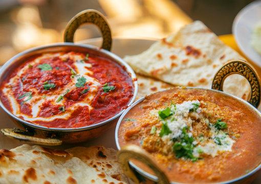 Delicious Indian food shahi paneer and butter masala paneer