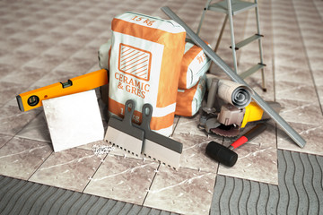 tile adhesive in the package ceramic glue tile laying tools 3d render image