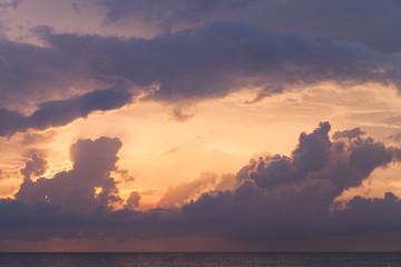 Cloudy tropical sky over ocean