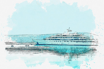 Watercolor sketch or illustration of a moored ship.