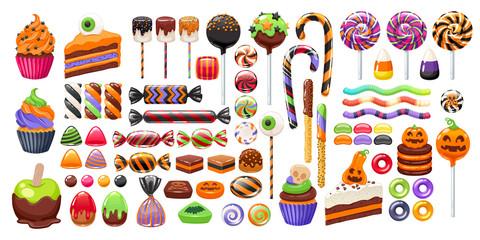 Halloween sweet treats set. Candies and snacks. Wall mural