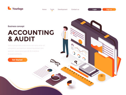 Flat color Modern Isometric Concept Illustration - Accounting and Audit
