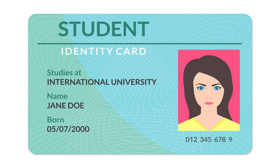 Student id card. University, school, college identity card with photo. Vector illustration.