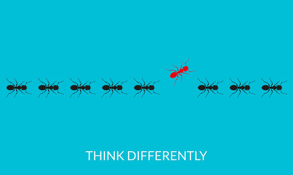 Think differently concept. A red ant going different way from black ants. Changing direction, different, unique, leadership, new idea, innovation, be yourself business metaphor. Vector illustration.