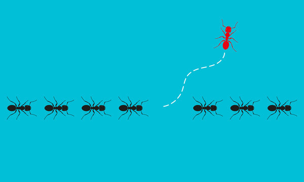Think differently. Ants marching or walking and one changing direction. Different, unique, leadership, change, new idea, new path, innovation, be yourself business concept. Vector illustration.
