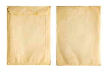 Old vintage paper sheet envelope texture isolated on white background Fototapete