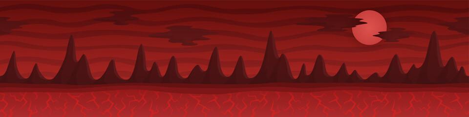 Red cartoon continious landscape with dark rocks