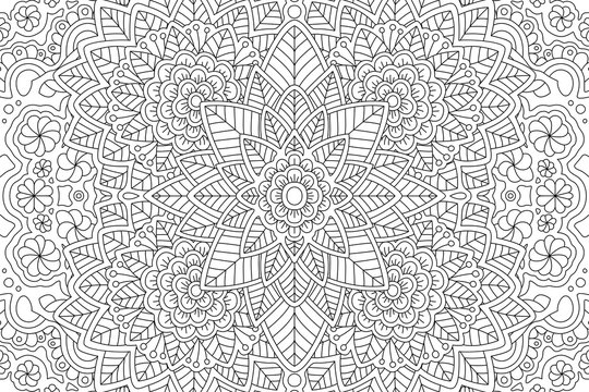 Coloring book page with linear floral pattern