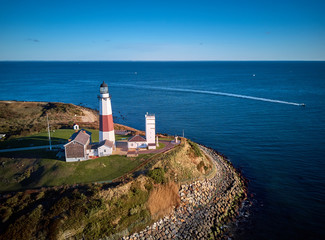 Montauk Lighthouse and beach aerial shot, Long Island, New York, USA.
