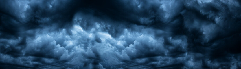 Dark cloudy sky before thunderstorm panoramic background. Storm heaven panorama. Wide gloomy backdrop Fotobehang