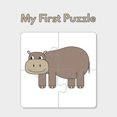 Cartoon Hippo Puzzle Template for Children