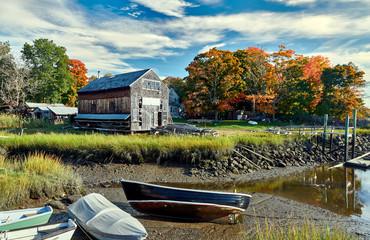 Wall Murals Ship Fall in Essex, Massachusetts, USA. Autumn scene at old wharf.