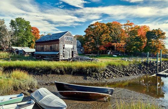 Fall in Essex, Massachusetts, USA. Autumn scene at old wharf.