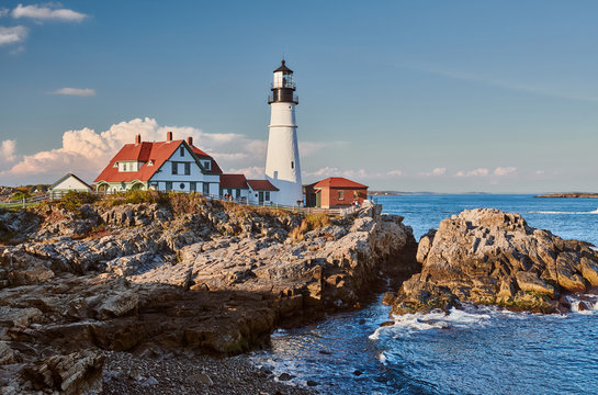 Portland Head Lighthouse at Cape Elizabeth, Maine, USA.
