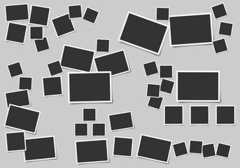 Set of square vector photo frames. Set of square and rectangular vector photo frames. Vertical and horizontal template photo design.