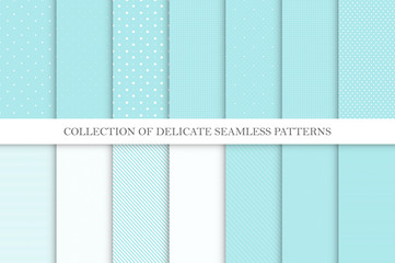 Collection of cute seamless vector patterns - aqua blue dotted and striped textures. Simple geometric design