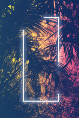 Neon light frame glowing between palm trees. Duotone