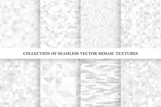 Set of tile geometric vector seamless patterns. White and gray mosaic endless textures.